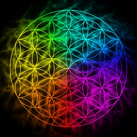 38572853 - rainbow flower of life with aura - symbol of sacred geometry